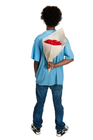 teener: Black teenager with bouquet roses for surprise