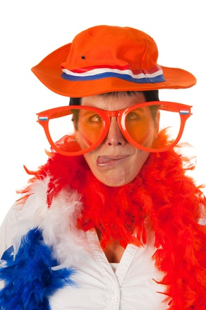 black boa: Dutch woman cross eyed dressed in orange with big sunglasses as a soccer fan