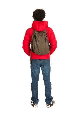 adolescent african american: Black school boy in red coat wit backpack on back side