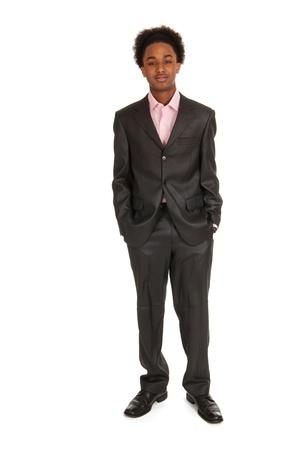 black business man: Jeune homme d'affaires noir debout dans le studio Banque d'images