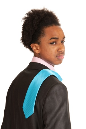 Portrait young black business man with blue tie Stock Photo - 12721508