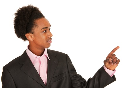 black business man: Portrait d'un homme d'affaires noir pointant avec le doigt