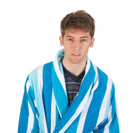 striped pajamas: Young man is wearing pajamas and morning gown  Stock Photo