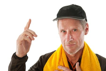 exercitation: Senior sport man with cap and towel