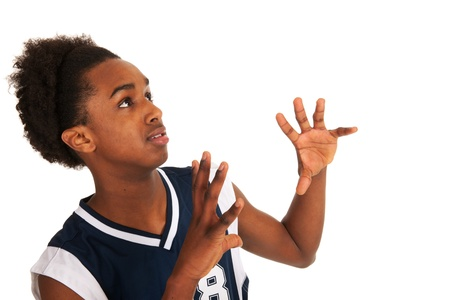 Black basketball player standing in the studio Stock Photo - 13218947