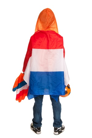 anonymus: Dutch soccer supporter on his back dressed with flag Stock Photo