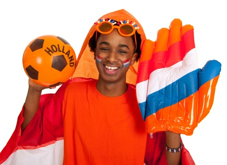 Young boy in orange as Dutch soccer supporter photo