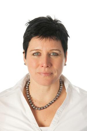 positiv: Friendly smiling young woman as studio portrait