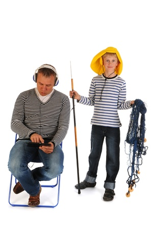 Little boy will go out for fishing with his father photo