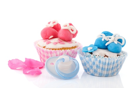 Baby pink and blue cupcakes photo