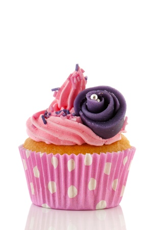 marzipan: Pink cupcake with marzipan purple rose flower