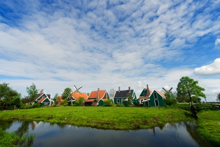 Green houses in small typical Dutch village at the Zaanse Schans Stock Photo - 13627811