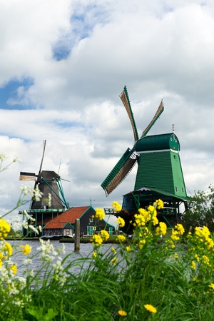 Two Dutch windmills near river the Zaan Stock Photo - 13643459