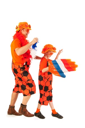 fanatics: Father and son as Dutch orange soccer fans Stock Photo