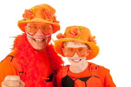 fanatics: Father and son as Dutch orange soccer fans Stock Photo