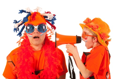 Father and son as Dutch orange soccer fans photo