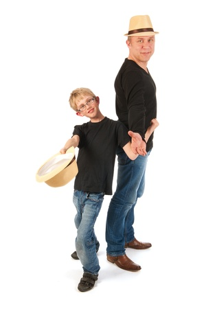sturdy: Sturdy father and son making performance in studio Stock Photo