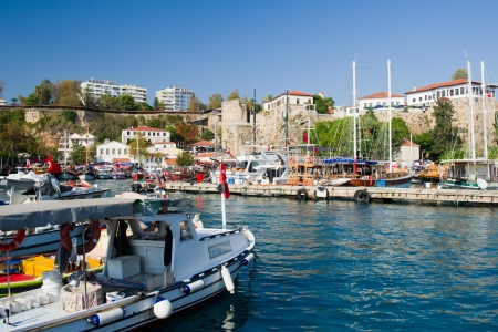 Harbor with boats in Antalya Turkey photo