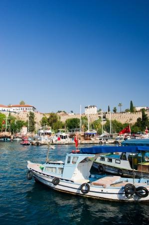 Harbor with boats in Antalya Turkey Stock Photo