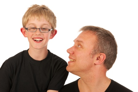 Portrait father and son in black in the studio Stock Photo - 13872136