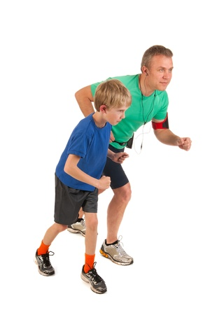 Father and son are running together photo