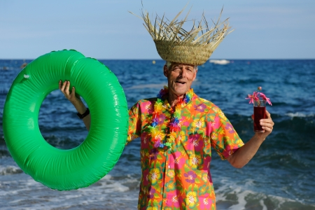 Retired man is having a happy vacation photo