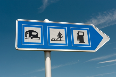 campground: Sign for campground picnic place and gasoline Stock Photo