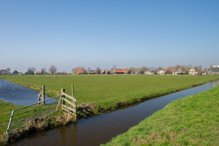Typical Dutch landscape with meadows and ditches photo
