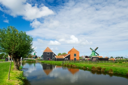 Dutch windmills in landscape at the Zaanse Schans Stock Photo - 14506734
