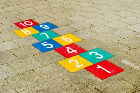 hopscotch: Colorful hopscotch with numbers to ten