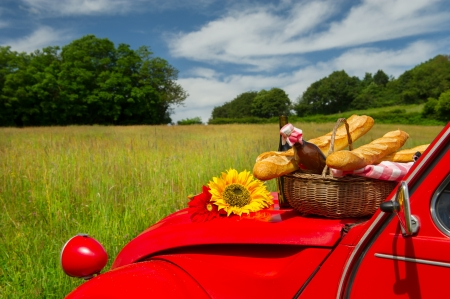 Typical French car with bread and wine for picnic Stock Photo