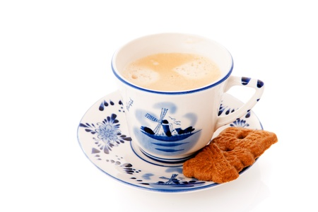 Dutch cup of coffee with cookie photo