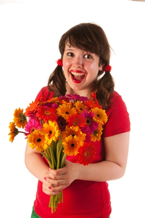 Young woman is happy with bouquet colorful Gerber flowers Stock Photo - 14697810