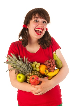 Happy young girl is loving fresh fruit Stock Photo - 14697817