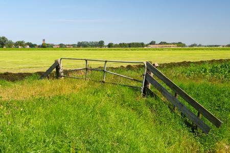 groningen: Nederlandse landschap met kleine dorp Stedum in de provincie Groningen