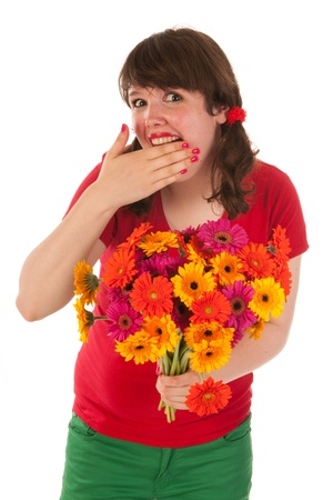 Young woman is happy with bouquet colorful Gerber flowers photo