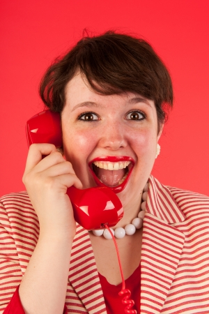 Young woman is having good news on the phone Stock Photo - 15125621