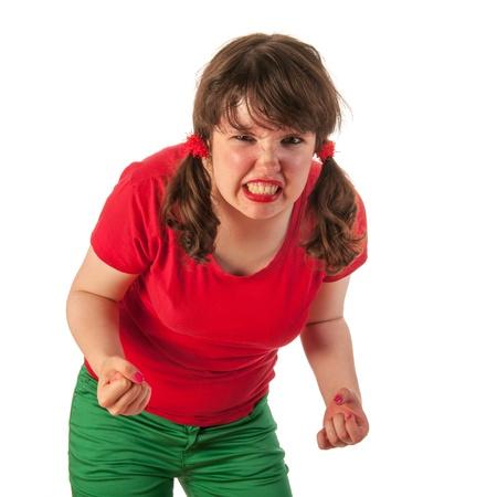 tailes: Ritratto di una ragazza arrabbiata teen in rosso Archivio Fotografico