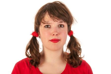 tailes: Ritratto di una giovane ragazza adolescente in rosso Archivio Fotografico
