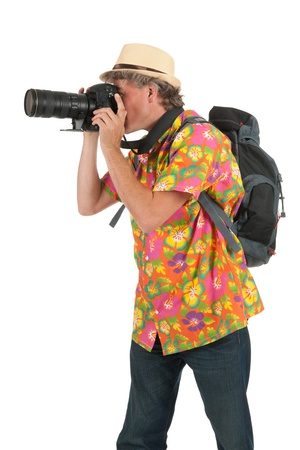 Typical tourist with backpack and photo camera Stock Photo - 15316266