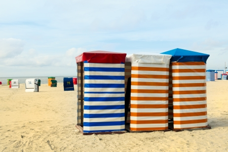 Striped beach chair at the island Borkum photo
