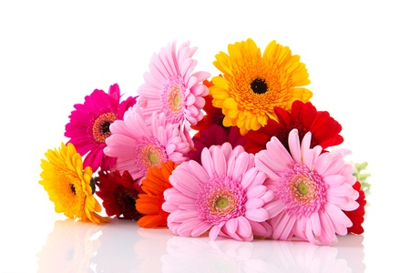 mixed flower bouquet: Colorful bouquet Gerber flowers isolated over white background Stock Photo