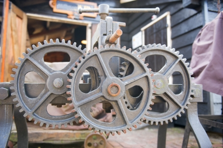Old wrought iron wheels from machine Stock Photo - 15405811