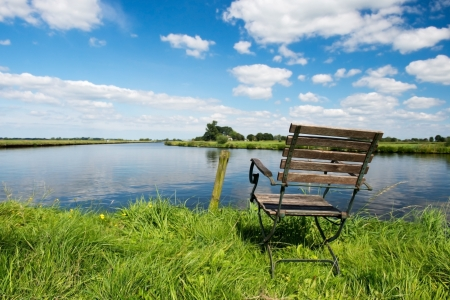 eem: Landscape with chair near Dutch river the Eem