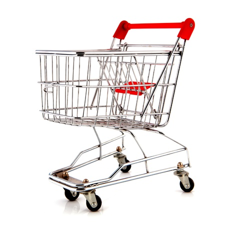 child seat: empty metal shopping cart with child seat
