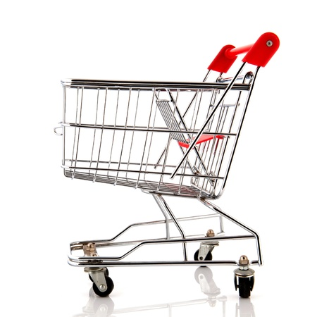 empty metal shopping cart with child seat Stock Photo - 15564134