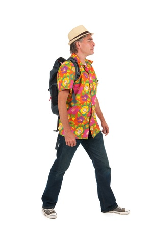 full strenght: Typical tourist with backpack