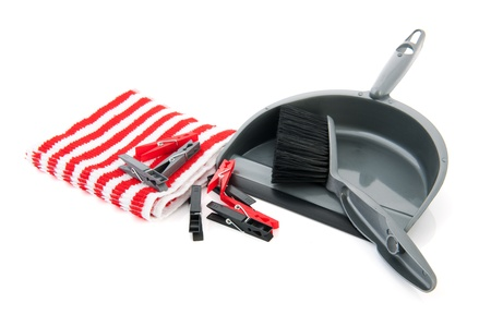 clothespegs: Household objects with clothespegs cloth and  Stock Photo