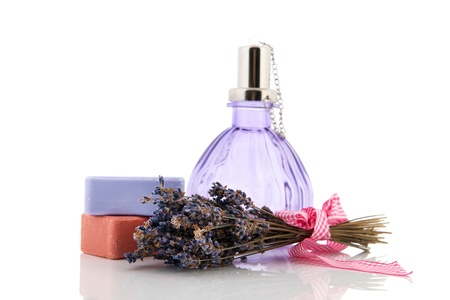 french perfume: Dried lavender and soap bars isolated over white background