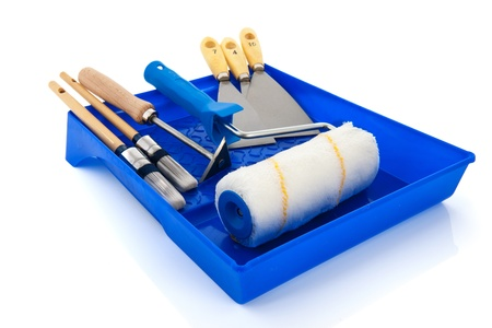 knifes: Painters equipment with brushes, paint roller and putty knifes